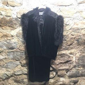 Vintage 1980s Black Ostrich Shoulder Silk Velvet JacketHoliday Black Velvet JacketEvening Velvet and Ostrich Feather JacketRuched Velvet